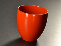 Red-orange Echizen lacquer cup, 150 ml (5 oz)