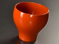 Red-orange ''mayu'' cup in lacquer from Echizen, 140 ml (4.7 oz)