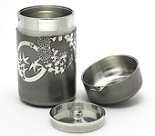 Flower tin tea caddy, ''hanamaru'' black