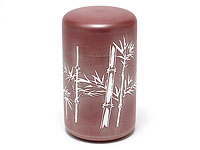 Bamboo tin tea caddy, ''shutake'', red