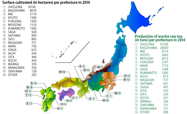 Map Of Japan With Prefectures.Production Areas Thes Du Japon